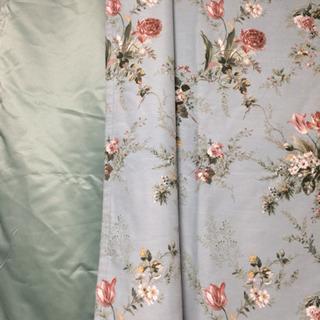カーテン   裏地付き ミントグリーン 花柄
