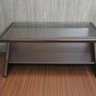 ss0522 ガラス天板 センターテーブル ブラウン 天然木 マ...
