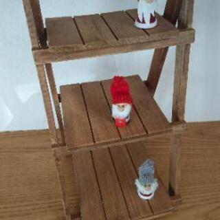 木製 三段 飾り棚 折りたたみ式 インテリア 収納