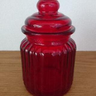 【美品】ビン 蓋つき インテリア ガラス製 赤