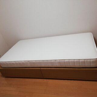 無印良品 シングル/オーク材収納ベッド・高密度マットレス