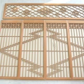 アンティーク レトロな欄間 麻の葉 格子模様 書院欄間 書院戸
