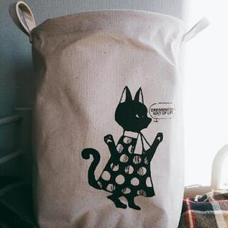 美品 収納かご 北欧 モノトーン レトロ  黒猫 ドット 水玉