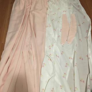 ピンクカーテン&花柄レースカーテン