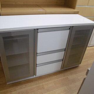 ニトリ サイドボード 食器棚 キッチン収納 収納棚 白 幅:12...