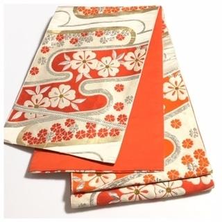 正絹 西陣織 子ども 帯 クリーム 花模様 古典 全通柄…