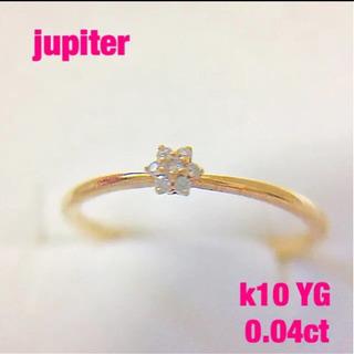 (美品)jupiter   k10 ダイヤモンド フラワー&パヴ...