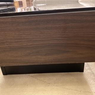センターテーブル ローテーブル ガラス天板 黒×茶 中古品 − 栃木県