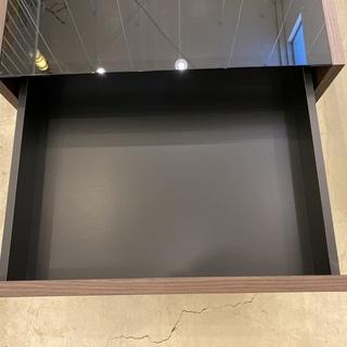 センターテーブル ローテーブル ガラス天板 黒×茶 中古品 - 家具