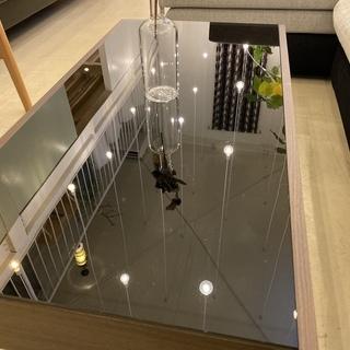 センターテーブル ローテーブル ガラス天板 黒×茶 中古品 - 売ります・あげます