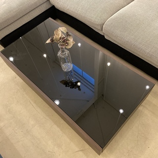 センターテーブル ローテーブル ガラス天板 黒×茶 中古品 - 宇都宮市