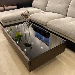 センターテーブル ローテーブル ガラス天板 黒×茶 中古品の画像
