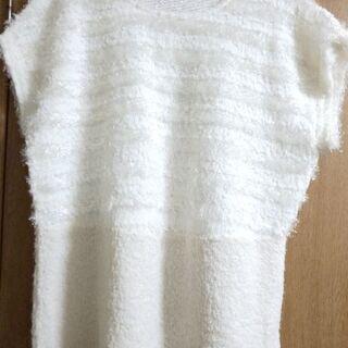 新品✨ 13号『eur3 エウルキューブ』白の袖なしデザインニッ...