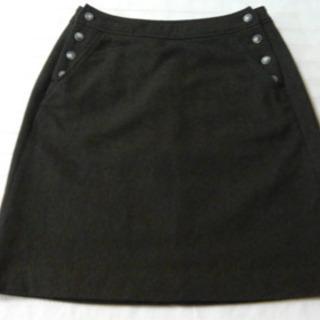 モスグリーンウールAラインミニスカート