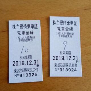 東武株主優待券2枚