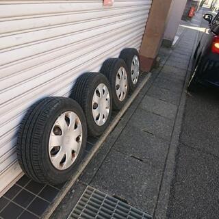 フリード ノーマルタイヤ★スチール&タイヤキャップ4本セット★値...