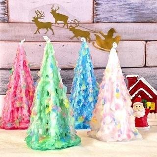 クリスマスツリーキャンドル作り