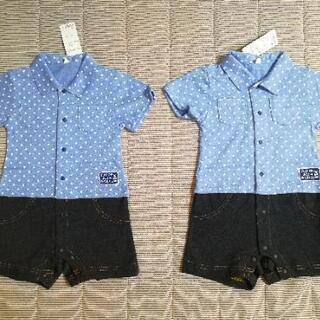 新品未使用 ㉜ 双子 半袖 襟付きロンパース 80