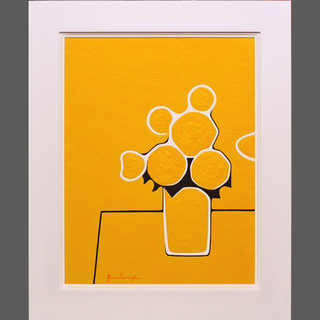 絵の具たっぷり『真黄色ノ花』●がんどうあつし絵画アクリル厚塗りF...