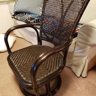 [美品]アジアンテイスト ラタン回転椅子