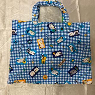 ハンドメイド水色チェックのバッグ