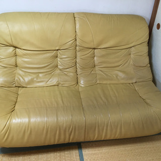 二人用掛けのソファー オレンジ
