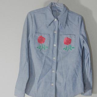 ヴィンテージ デニム シャツ 薔薇