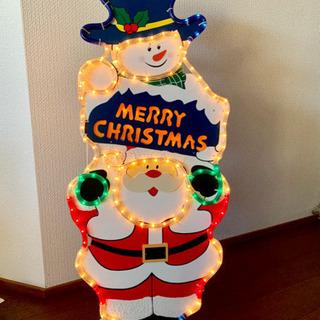 クリスマス サンタ スノーマン 高さ90cm 点灯 確認済み 防...