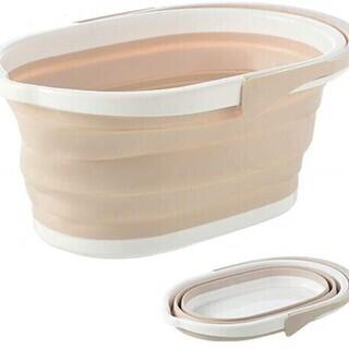 【新品・未使用】折り畳み洗い桶 折りたたみ たためるバケツ 薄く...