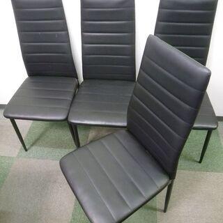 ブラックレザー調 椅子 イス 4脚セット ダイニングなどに
