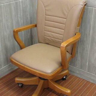 ss0555  木製 肘掛け付椅子 回転 ライトブラウン ベージ...