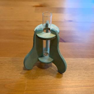 一輪挿し 花瓶 試験管 木製 ガラス ブルー