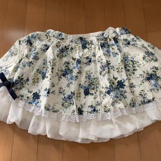 オフホワイト×ネイビー 花柄 フリルスカート キャサリンコテージ