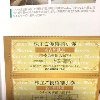 株主優待券、名古屋鉄道 杉本美術館 無料入場券