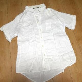 半袖襟シャツ 白 メンズ Mサイズ