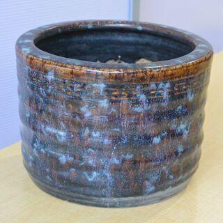 陶器 青い火鉢 ヘラ付き 暖房 昭和レトロ /火鉢⑤