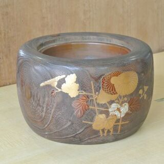蒔絵 木製の火鉢 灰入り 暖房 昭和レトロ /火鉢⑦