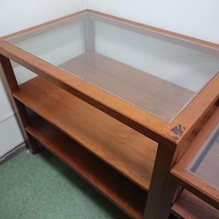 テーブル 木製 重厚 天板ガラス 棚付 レトロ 作業台 大