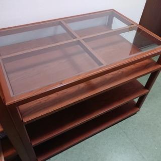 テーブル 木製 重厚 天板ガラス 棚付 レトロ 作業台 小