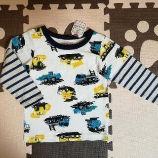 新品 長袖 重ね着風働く車Tシャツ ロンティ 104cm