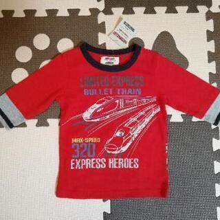 新品 長袖 重ね着風新幹線Tシャツ 104cm
