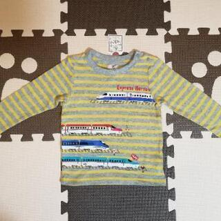新品 長袖 新幹線ボーダーTシャツ ロンティ 97cm