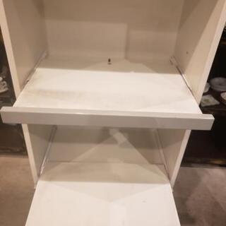 グレー×白 レンジ台付き食器棚 - 家具