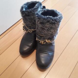 ボア付きショートブーツ 21cm