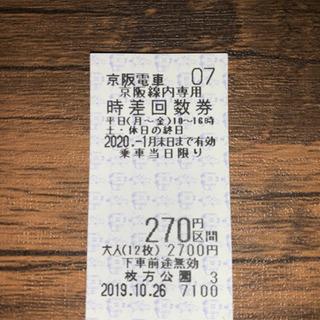 京阪線270円区間切符