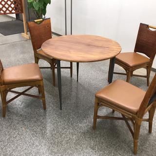 CRES椅子4脚+円卓テーブルの5点セット