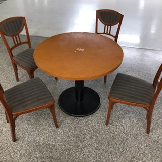 特注椅子4脚+ADAL円卓テーブル5点セット