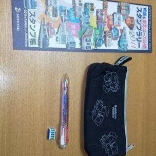 2011ス年度タンプラリー手帳・坊ちゃん列車筆入れ(USED)・...