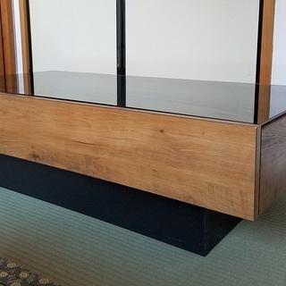 ネイツ センターテーブル ビンテージ調の木目と黒ガラス天板のコン...