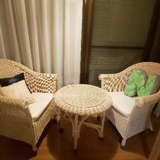 円卓 籐家具 3点セット